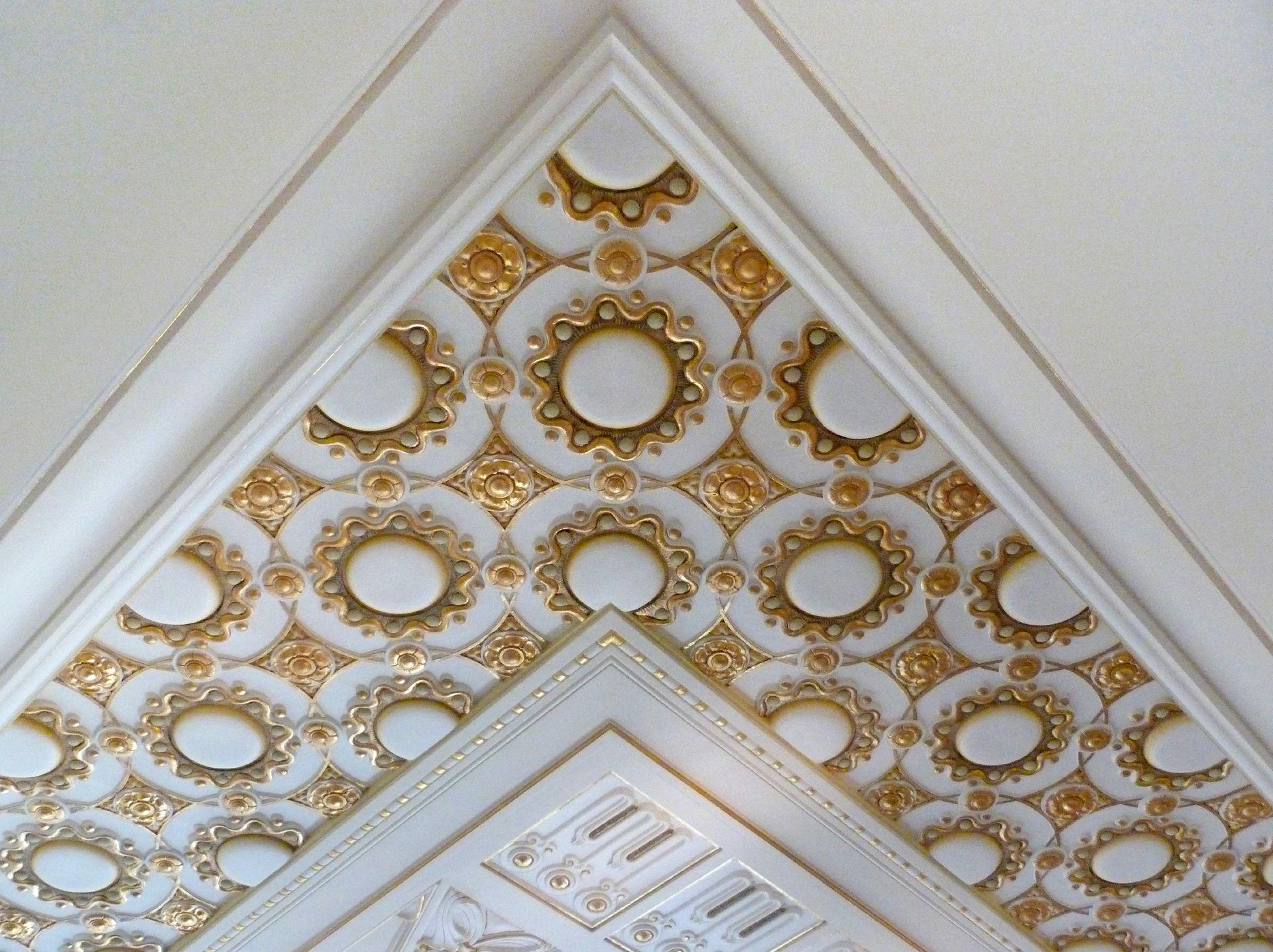 Castle Faber-Castell Jugendstil stair well, upper storey, gesso ceiling