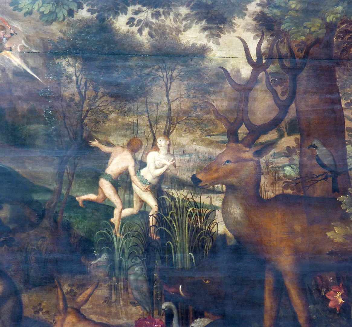 Remembrance picture of the family Behaim Expulsion from Paradise, detail
