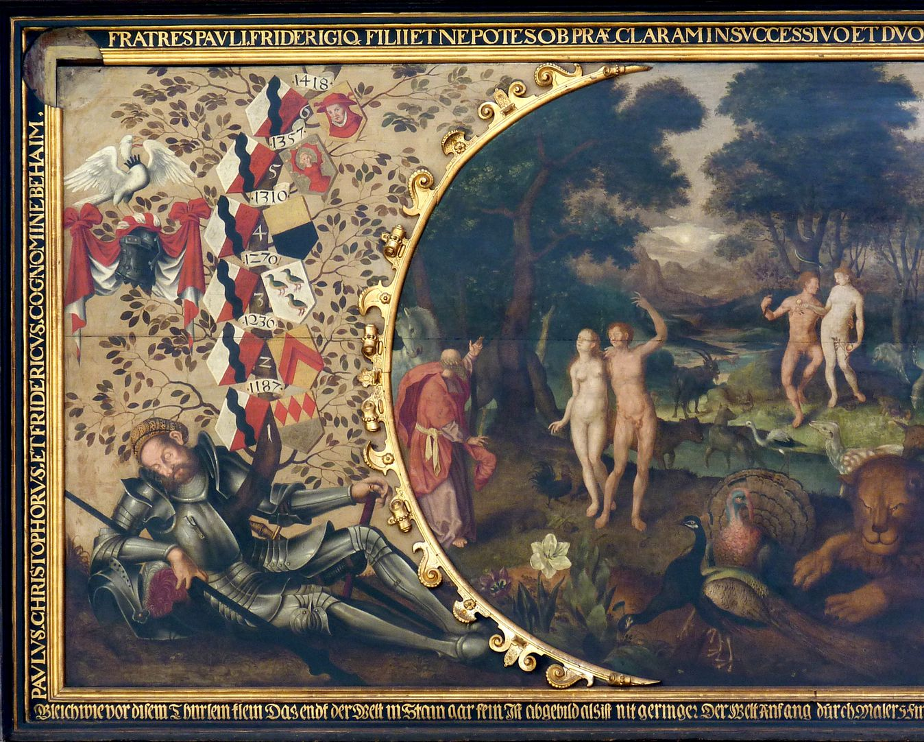Remembrance picture of the family Behaim Left part of the picture, lying patriarch of the family Behaim with family tree, coat of arms and banners, right of that introduction into Paradise, the Fall of Man
