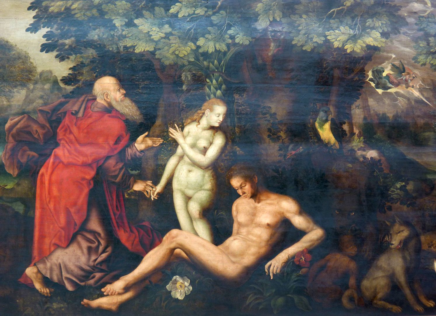 Remembrance picture of the family Behaim God creates Eve, pulling her out of Adam´s side