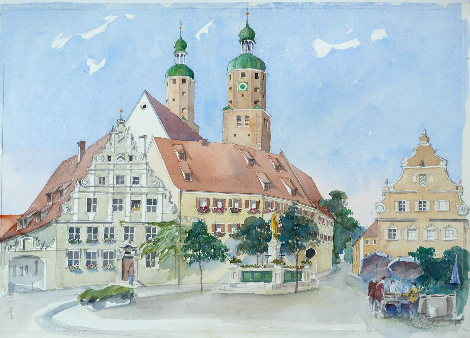 Wemding (district Donau-Ries City Hall on the market place with catholic parish church St. Emmeram´s