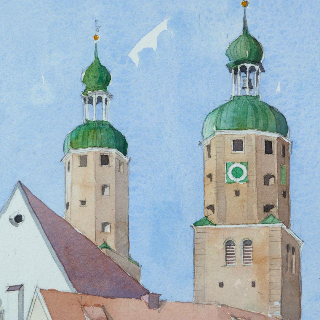 Wemding (district Donau-Ries Spires of the catholic parish church St. Emmeram´s