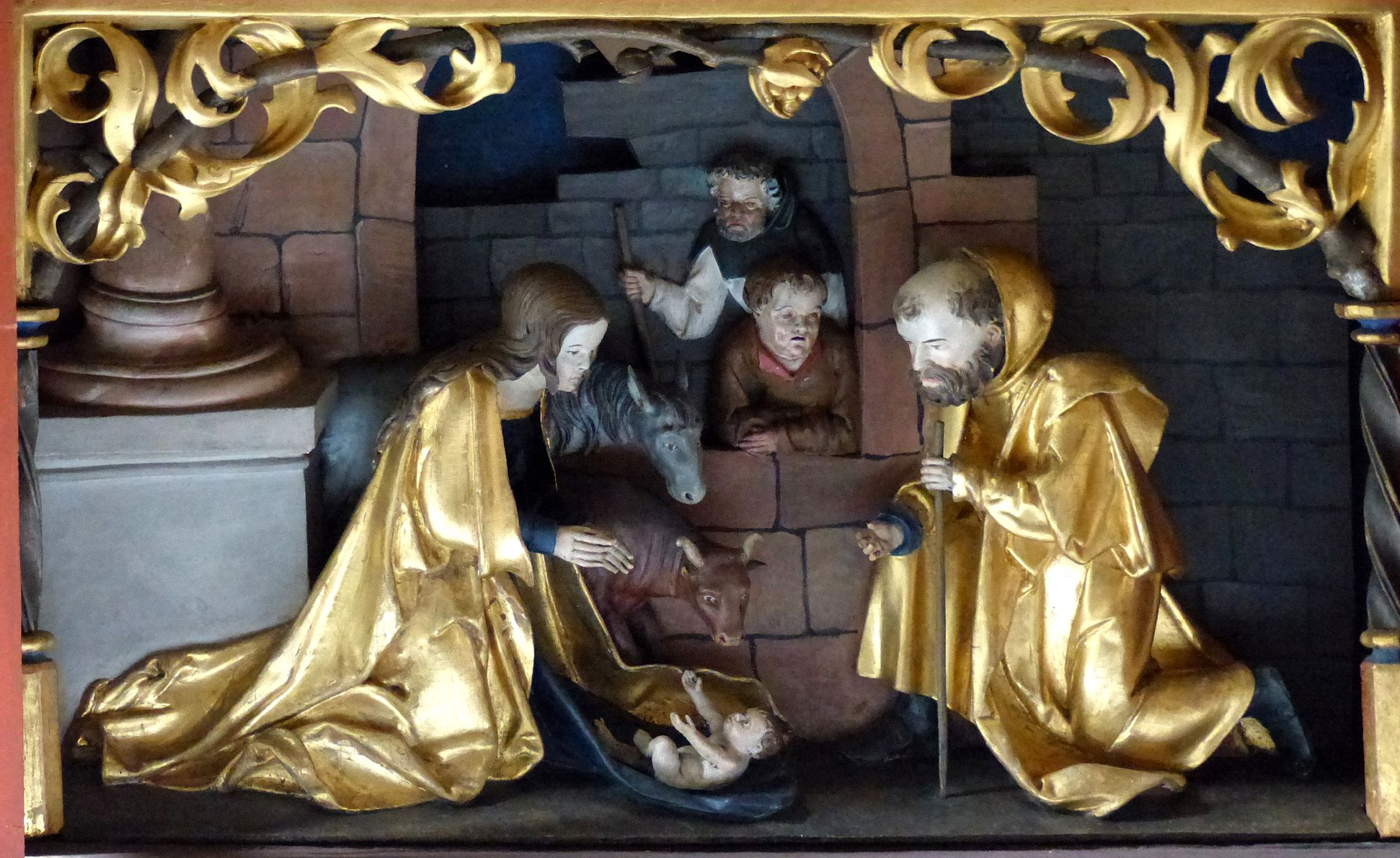 Wendelstein Three-Kings´ Altar Predella main piece, wood carved birth of Christ
