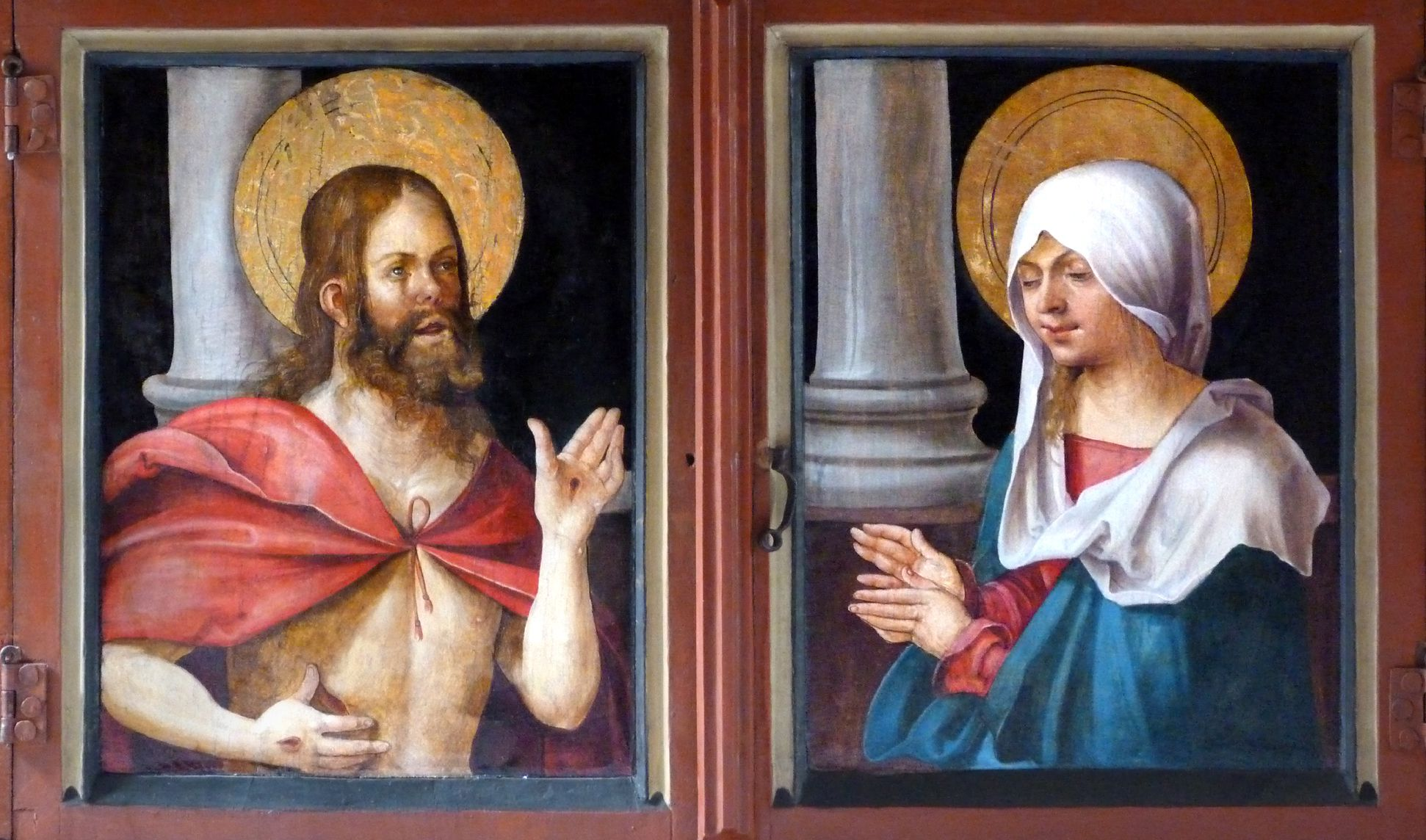 Wendelstein Three-Kings´ Altar Predella closed: Christ resurrected on the left, St. Mary on the right