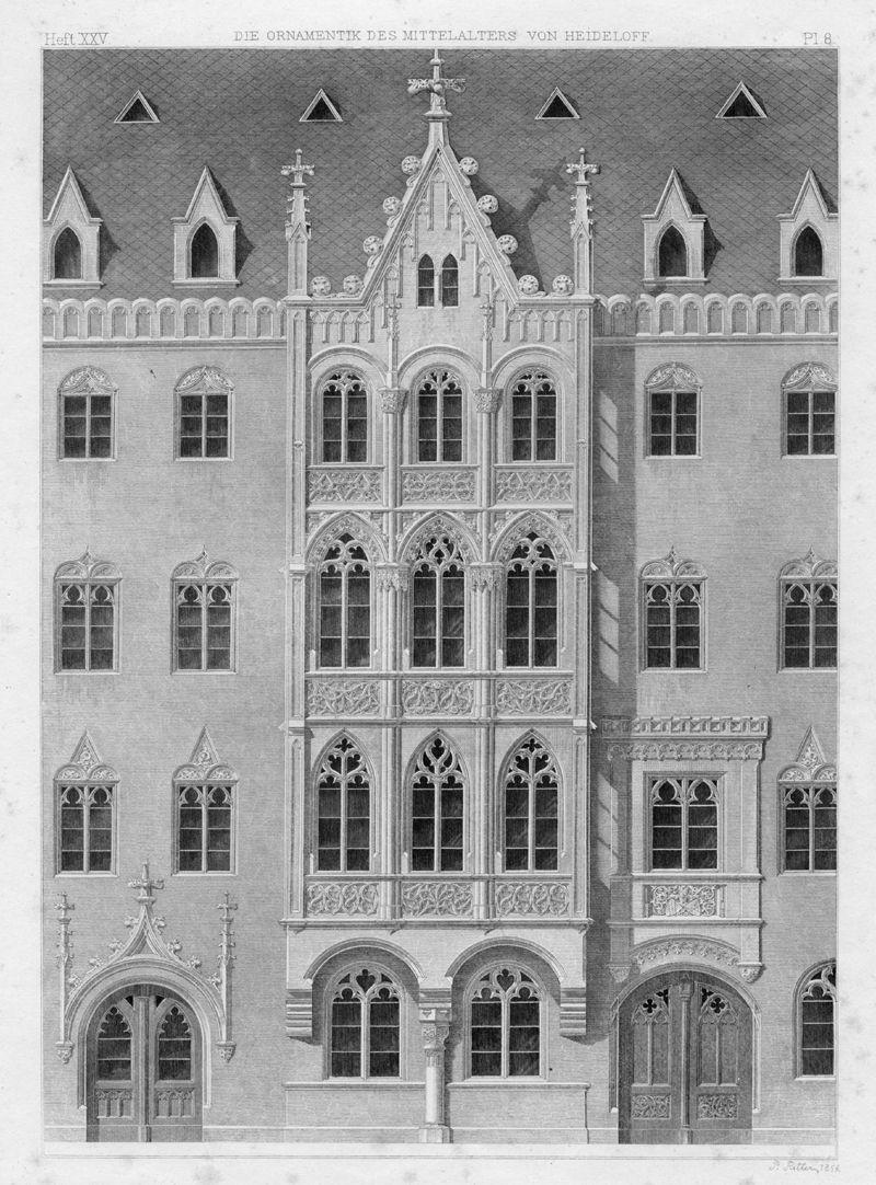Ornamentation in the Middle Ages Wiß House in Nuremberg, formerly Hauptmarkt 26 (1854). The house shows Heideloff´s inconsistencies. This architecture does not really follow the tradition of medieval civic houses. Besides it mixes sacral and secular architecture of the Gothic period.