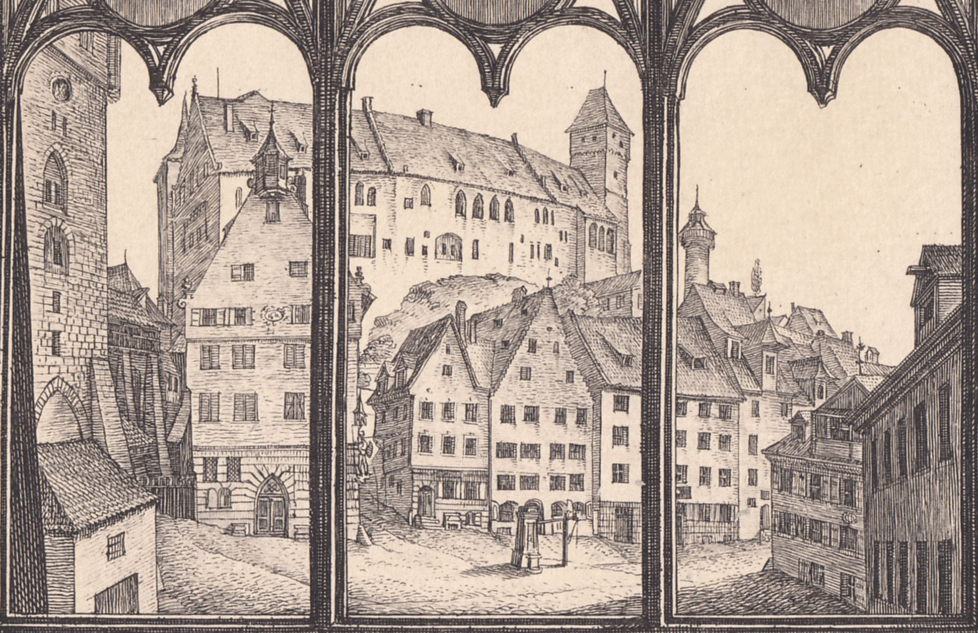 View from A. Durer´s house towards the castle in Nuremberg Detail