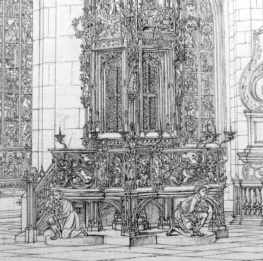 Tabernacle at St. Lorenz Church Gallery with parapet and supporting figures