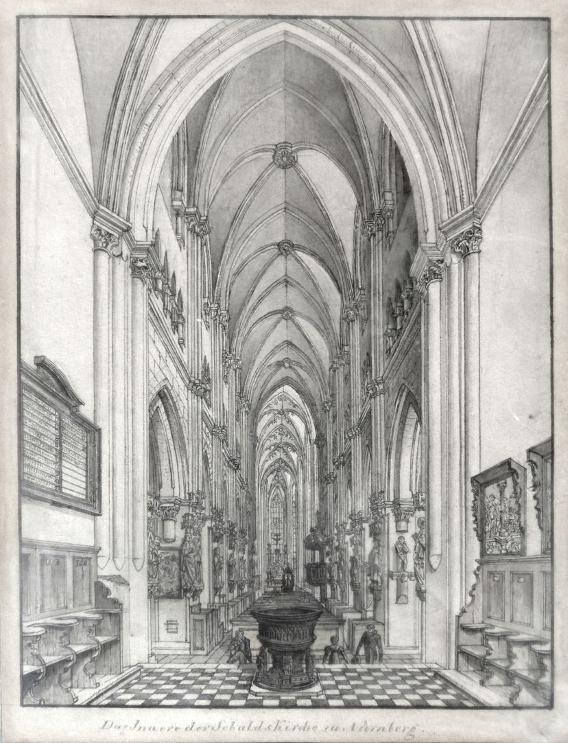 Interior of St. Sebaldus Church in Nuremberg Total view