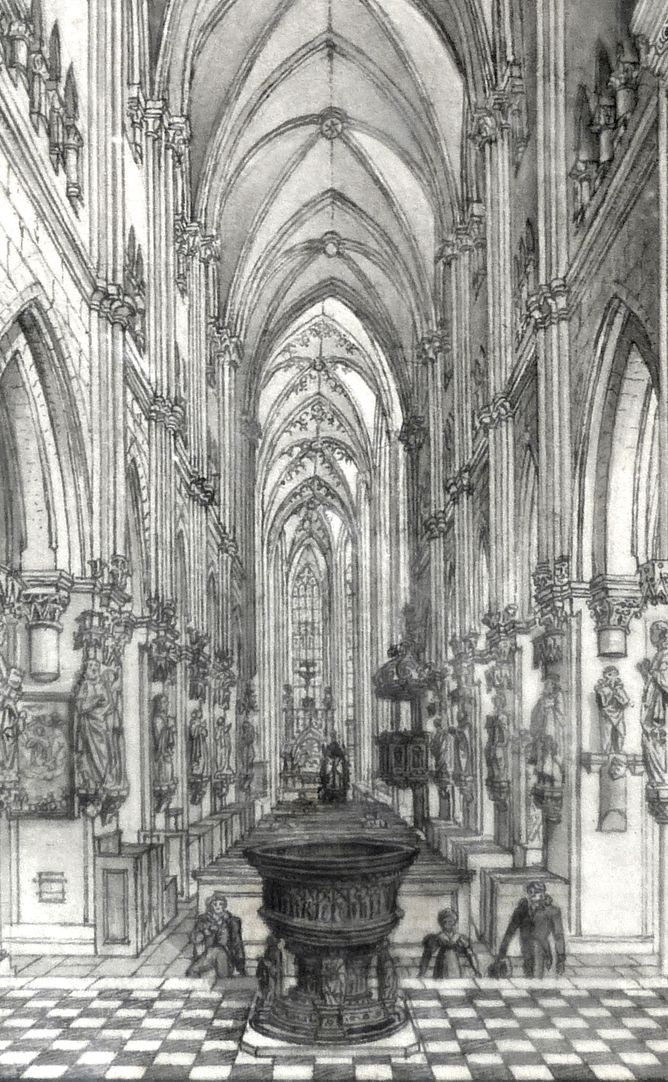 Interior of St. Sebaldus Church in Nuremberg View of the aisle, detail