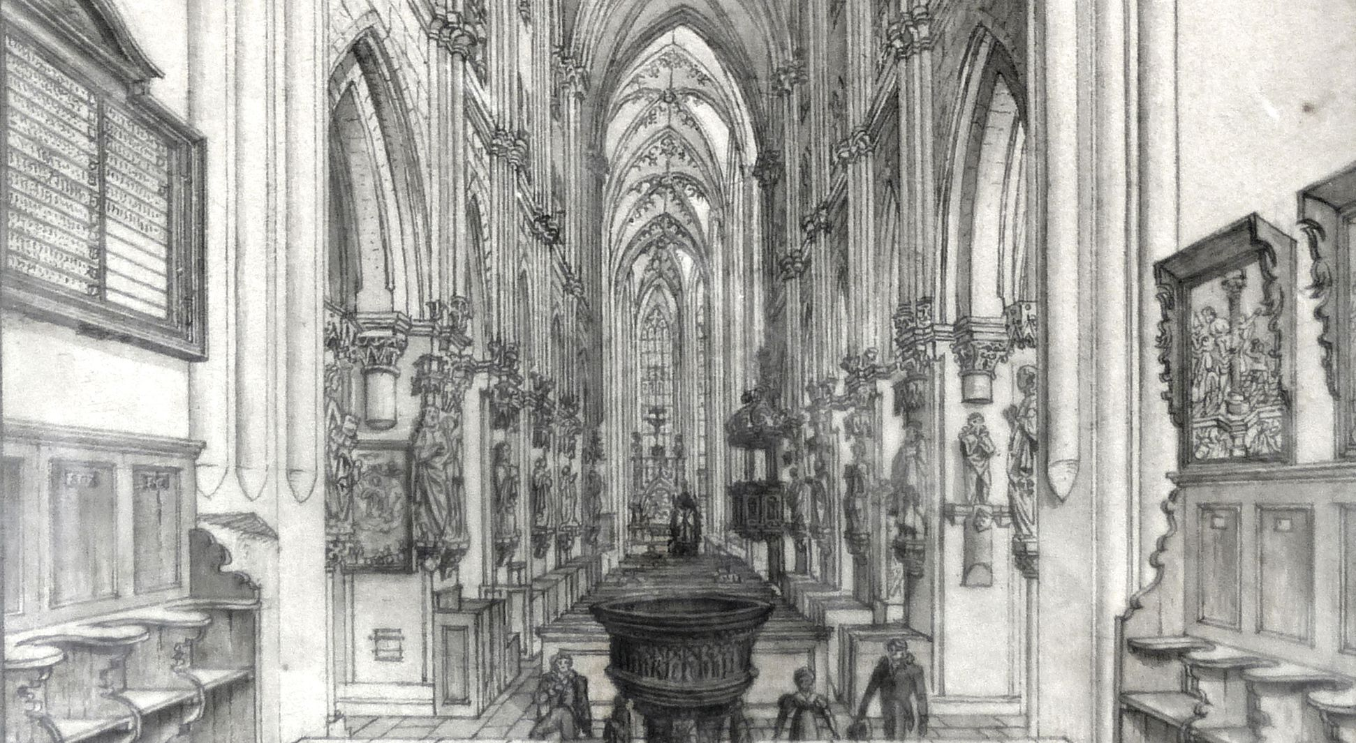 Interior of St. Sebaldus Church in Nuremberg lower section of the picture