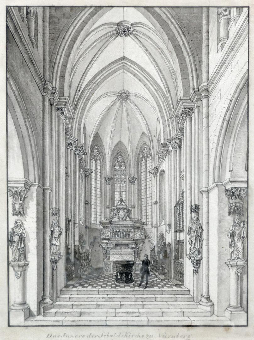 Interior of St. Sebaldus Church in Nuremberg, west choir Total view