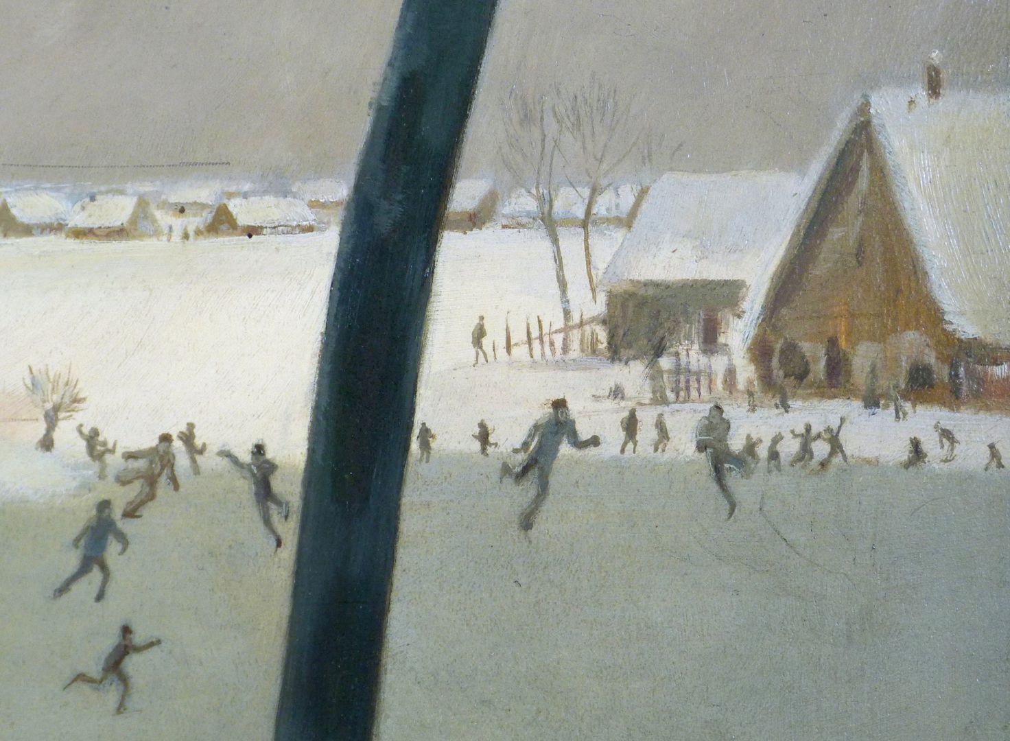 Winter in Knoblauchsland near Nuremberg Detail with skaters