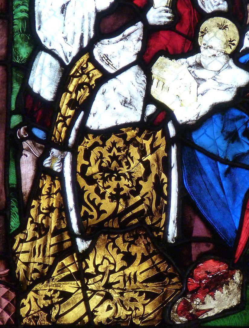 St. Bartholomäus, Chorfenster n II Dritte Zeile, Fenster a, Anbetung der Könige, Detail
