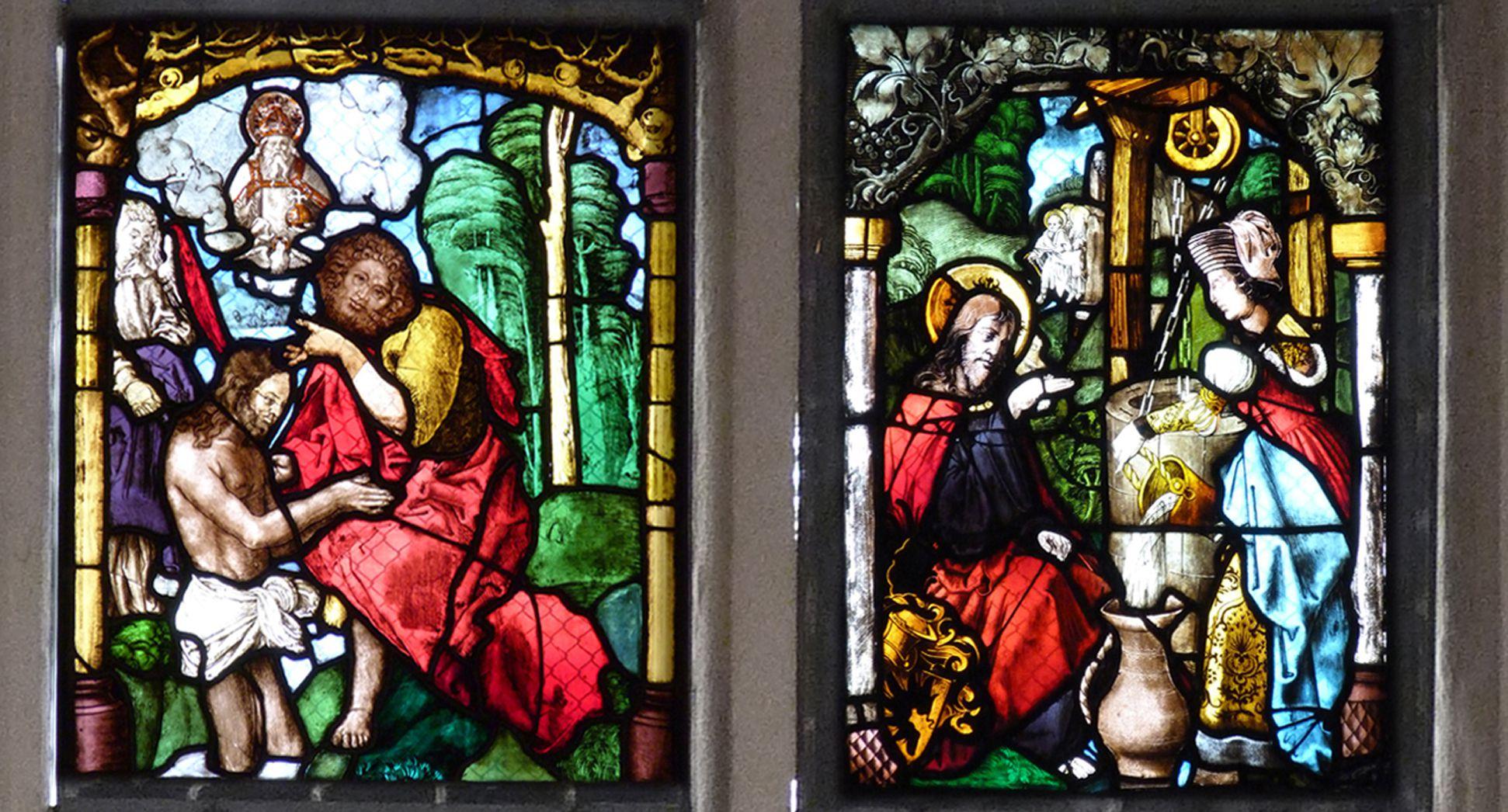 St. Bartholomäus, Chorfenster n II Vierte Zeile, von links nach rechts: Taufe Christi und Jesus am Brunnen