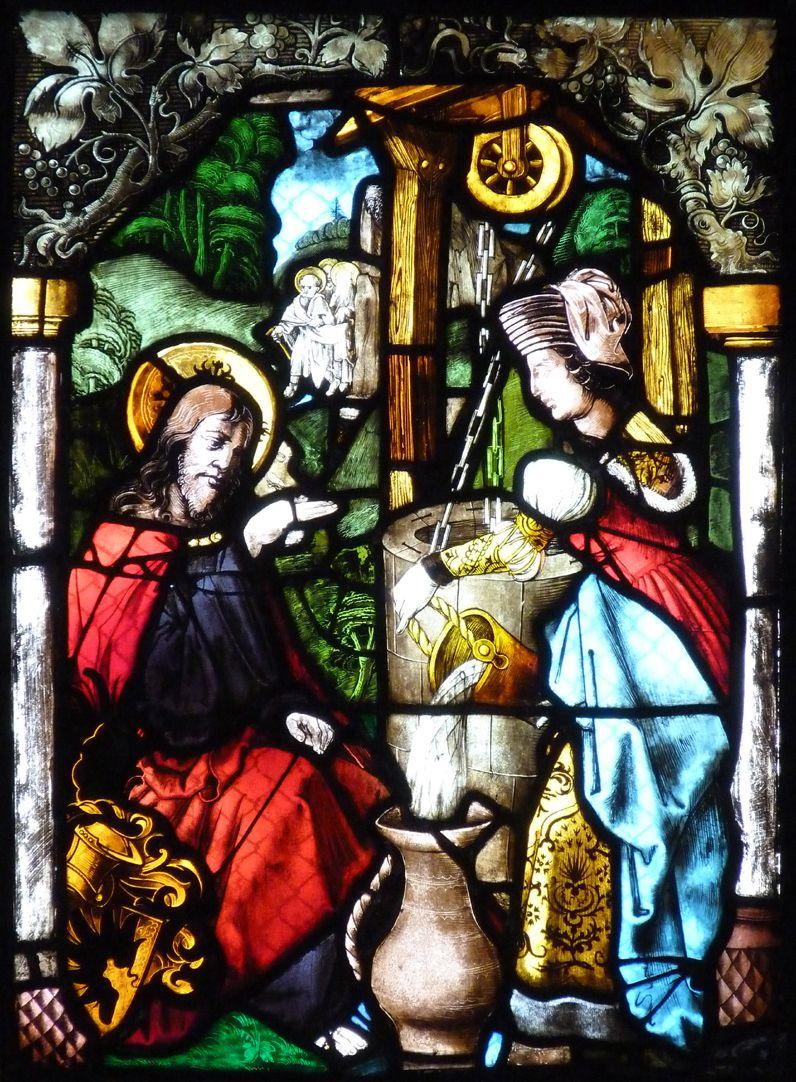 St. Bartholomäus, Chorfenster n II Vierte Zeile, Fenster b, Jesus und die Samariterin am Brunnen