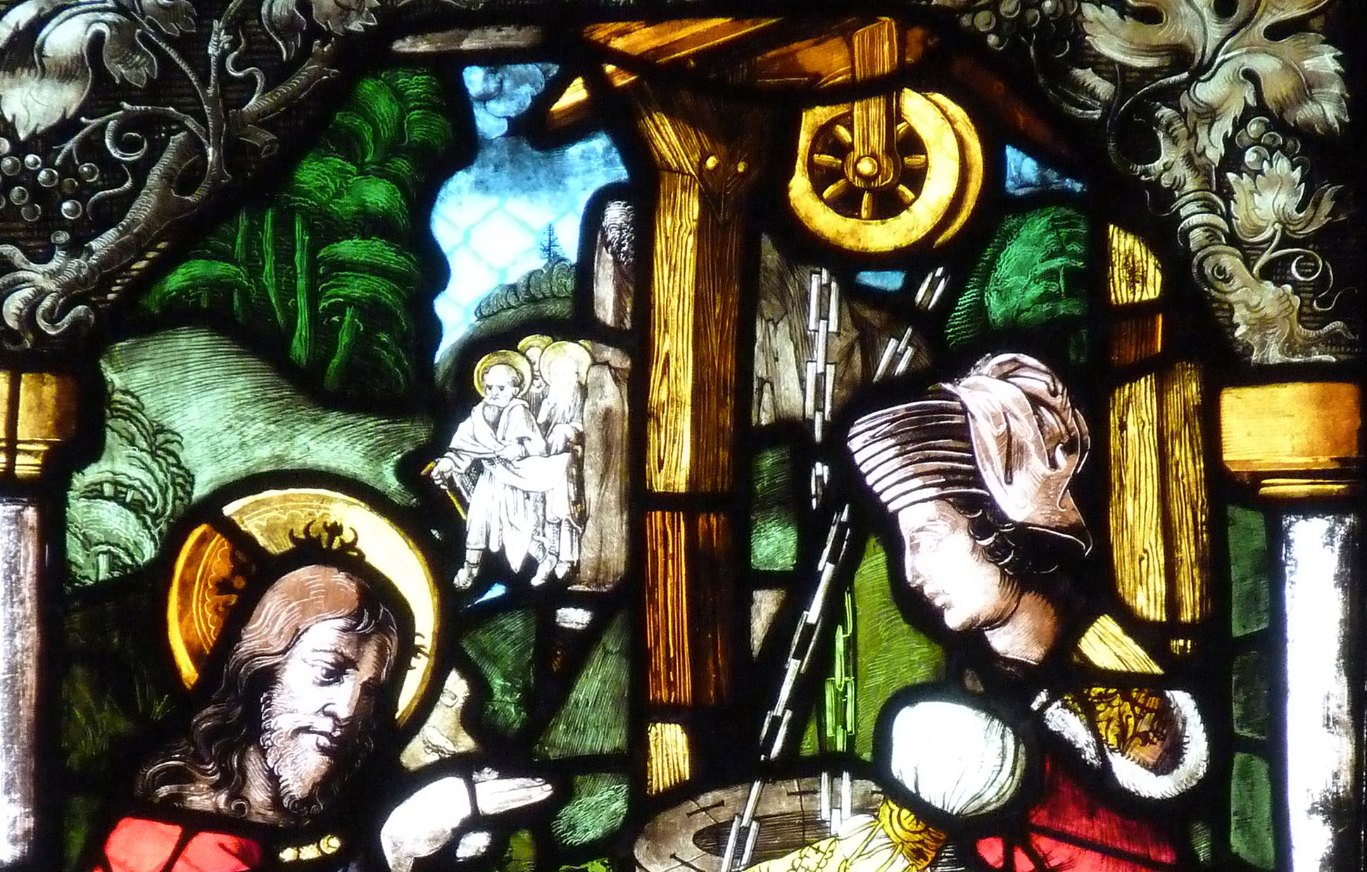 St. Bartholomäus, Chorfenster n II Vierte Zeile, Fenster b, Jesus und die Samariterin am Brunnen, obere Bildhälfte