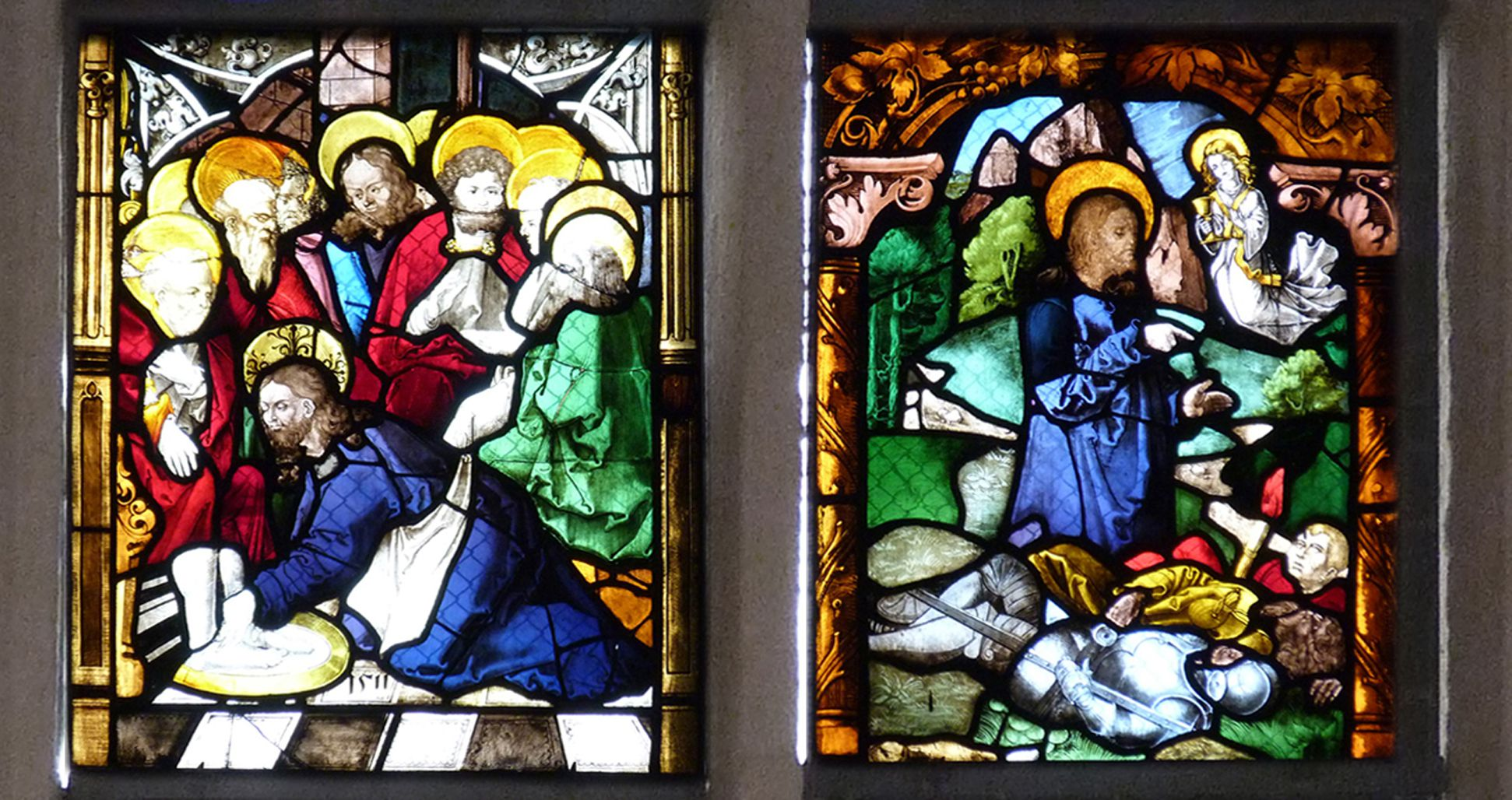 St. Bartholomäus, Chorfenster n II Fünfte Zeile, von links nach rechts: Fußwaschung und Jesus am Ölberg