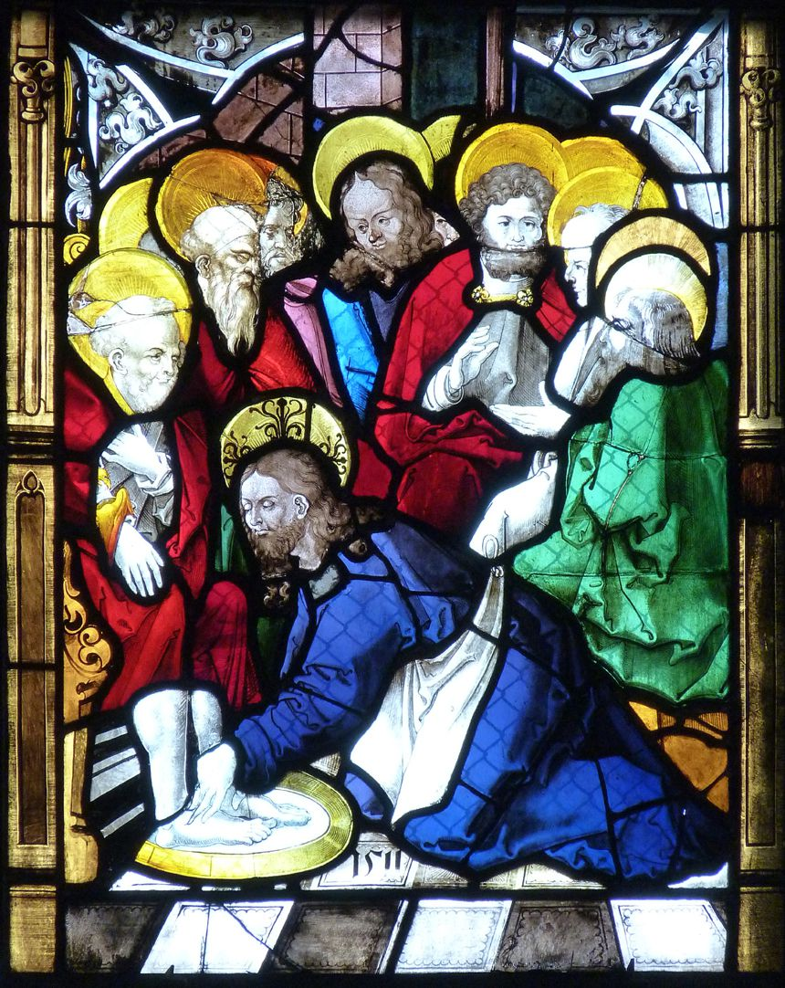 St. Bartholomäus, Chorfenster n II Fünfte Zeile, Fenster a, Fußwaschung