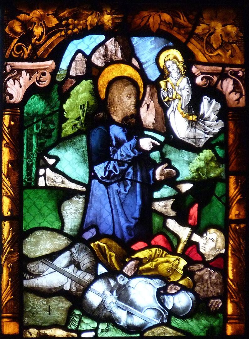St. Bartholomäus, Chorfenster n II Fünfte Zeile, Fenster b, Jesus am Ölberg