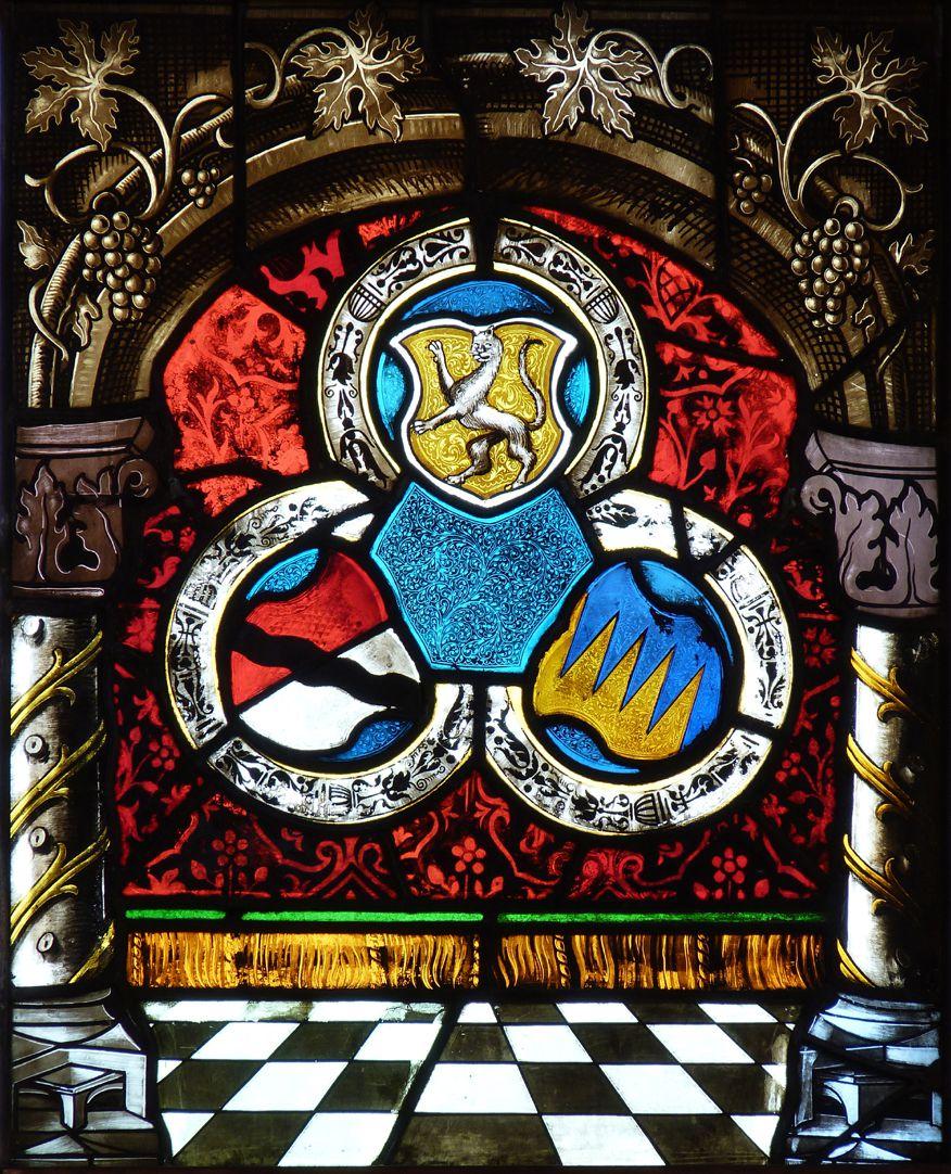 St. Bartholomäus, Chorfenster n II Erste Zeile, Fenster a, Mit Beischilden Behaim und Ebner