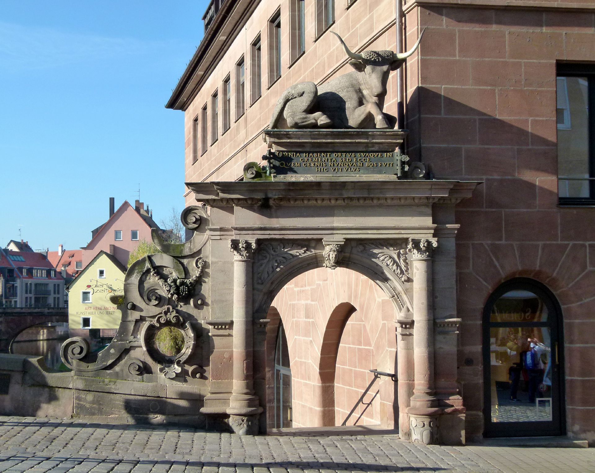 Fleischbrücke (Meat Bridge) Arched portal with scrollwork and attic with ox