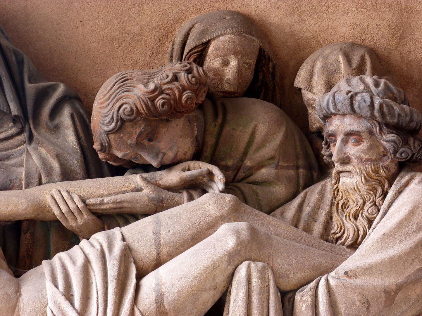 Grablegung Christi Johannes küsst die Hand des Herren, Nicodemus trägt die Beine, im Hintergrund die heiligen Frauen
