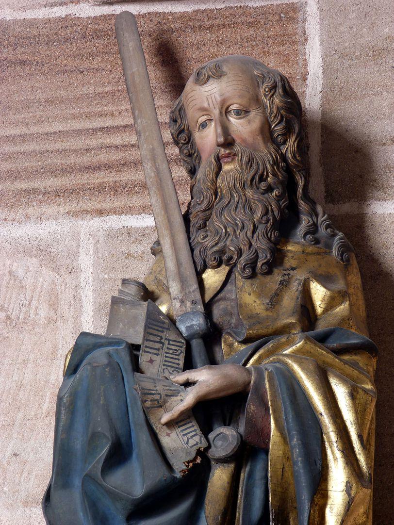 Lindenholzfigur des hl. Paulus Oberkörper