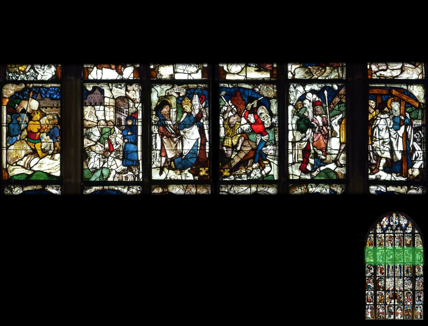 Kaiserfenster 5. Zeile, Fortsetzung der Erzählung der Auffindung des wahren Kreuzes