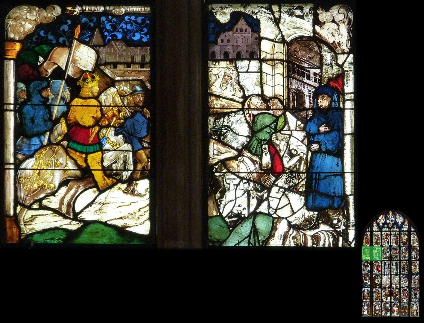 Kaiserfenster Einzug Konstantins in Rom, links eine weitgehende Neuschöpfung des 19. Jahrhunderts