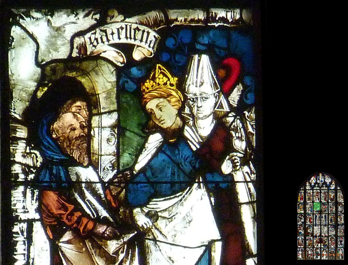 Kaiserfenster Detail mit Helena und Hofdame mit Burgunderhaube