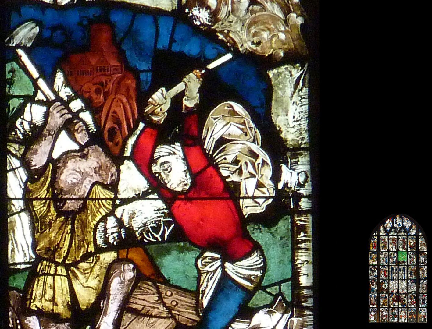 Kaiserfenster Helena findet das wahre Kreuz, Detail mit Arbeitern