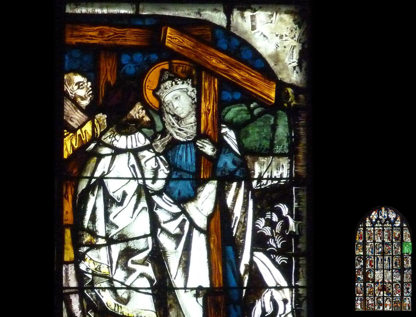 Kaiserfenster Übergabe des Kreuzes an Kaiserin Helena, Detail mit Helena