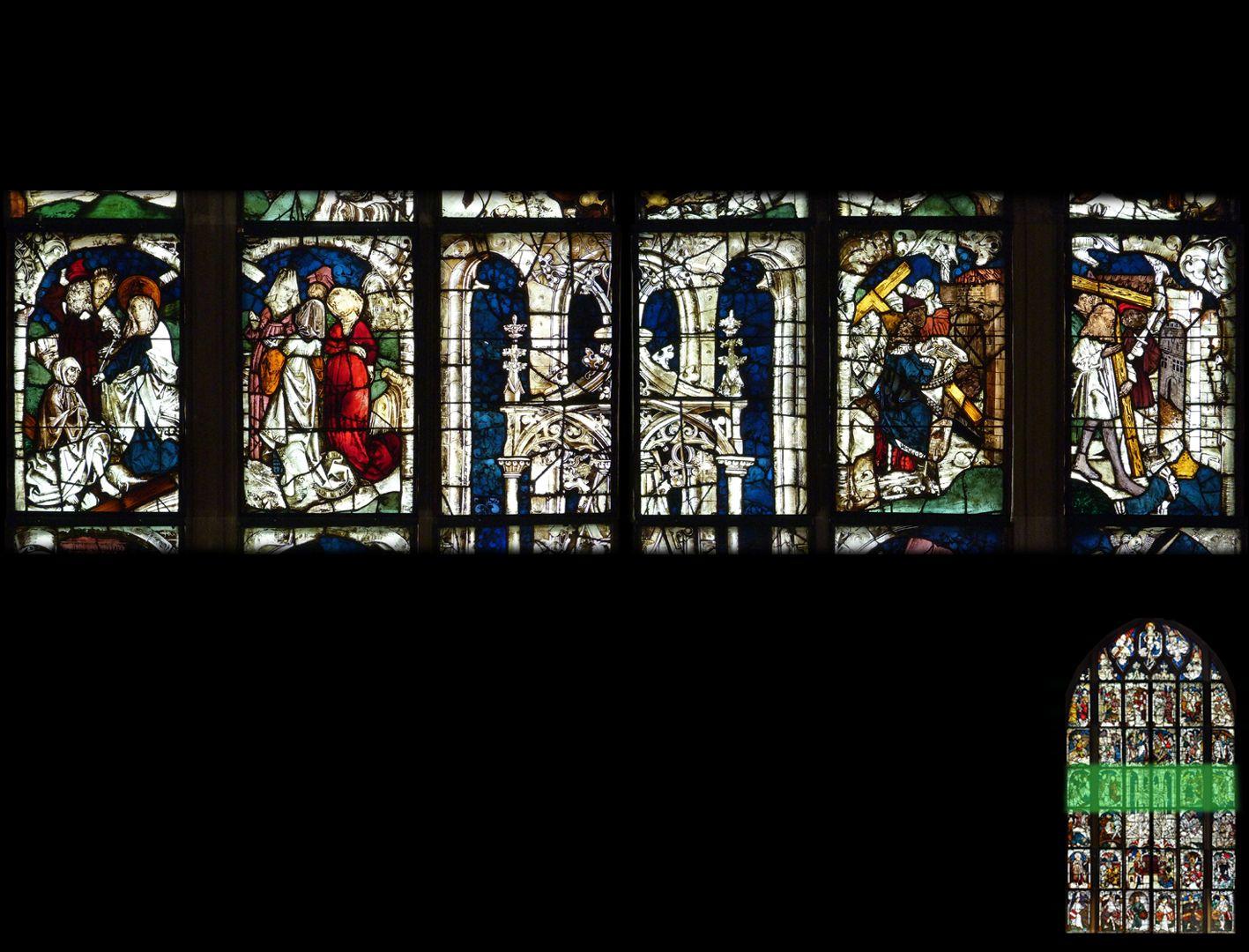 Kaiserfenster 4. Zeile, Fortsetzung der Erzählung der Auffindung des wahren Kreuzes