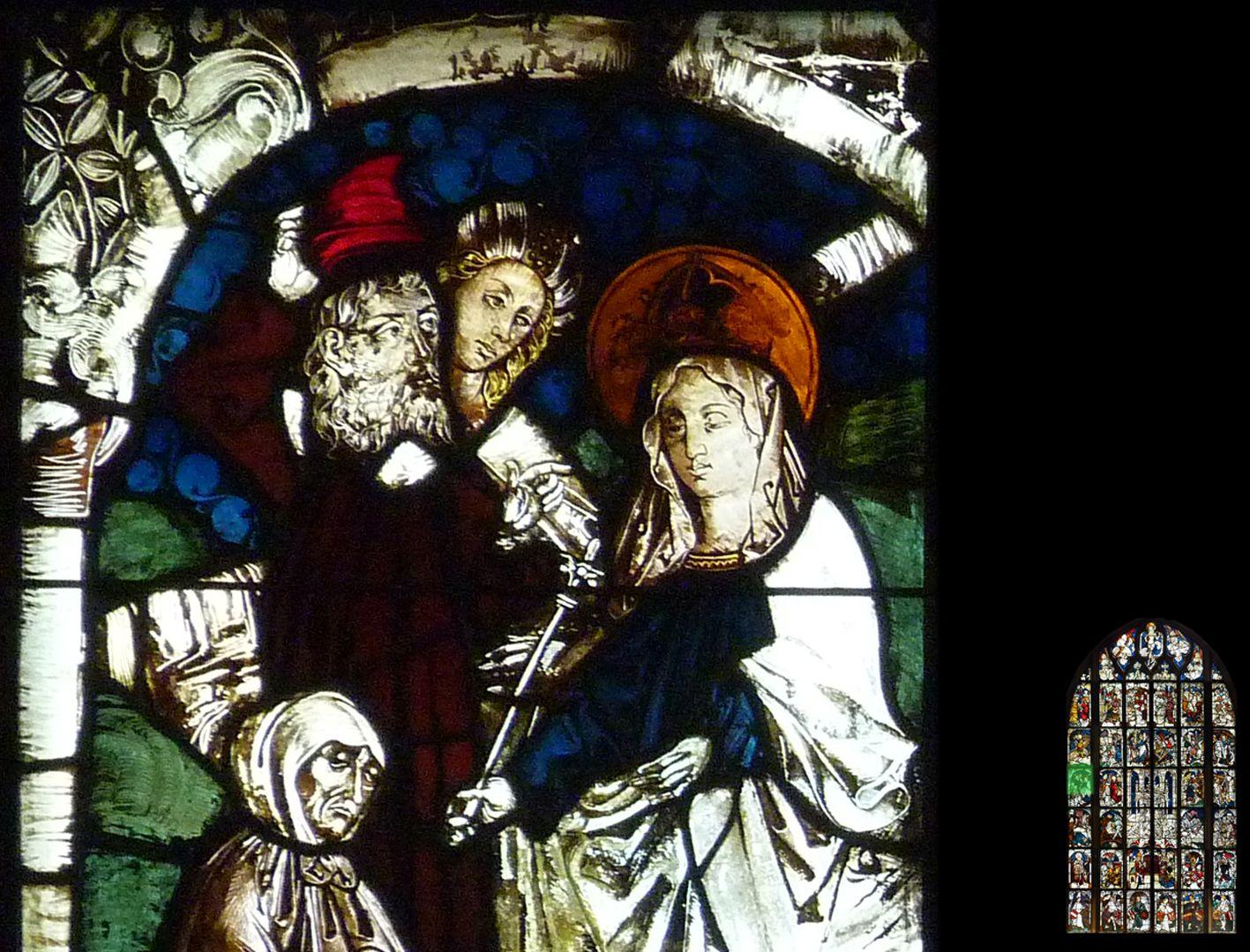 Kaiserfenster Kreuzprobe, Detail mit Köpfen, bei Helena und hinterer Figur starke Neuschöpfungen des 19. Jahrhunderts
