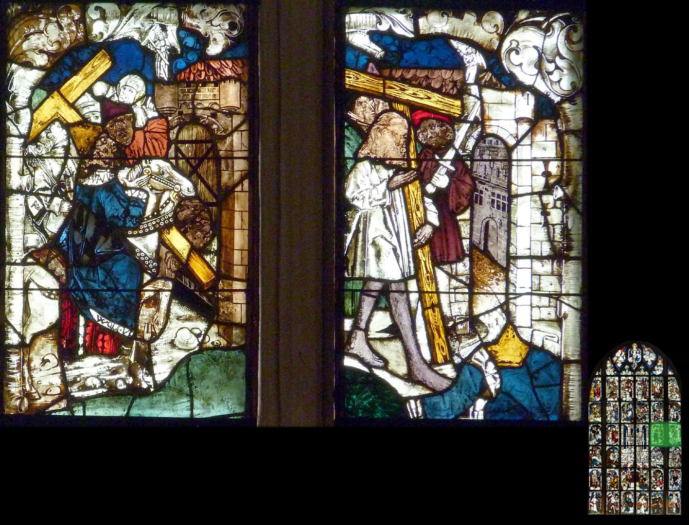 Kaiserfenster Nach Rückeroberung des Kreuzes (im 7.Jahrhundert) durch Kaiser Heraklius bringt dieser das Kreuz zurück nach Jerusalem. Der Zutritt zur Stadt wird ihm erst nach Ablegen seiner Machtinsignien und Anlegen eines einfachen Büßergewandes erlaubt.