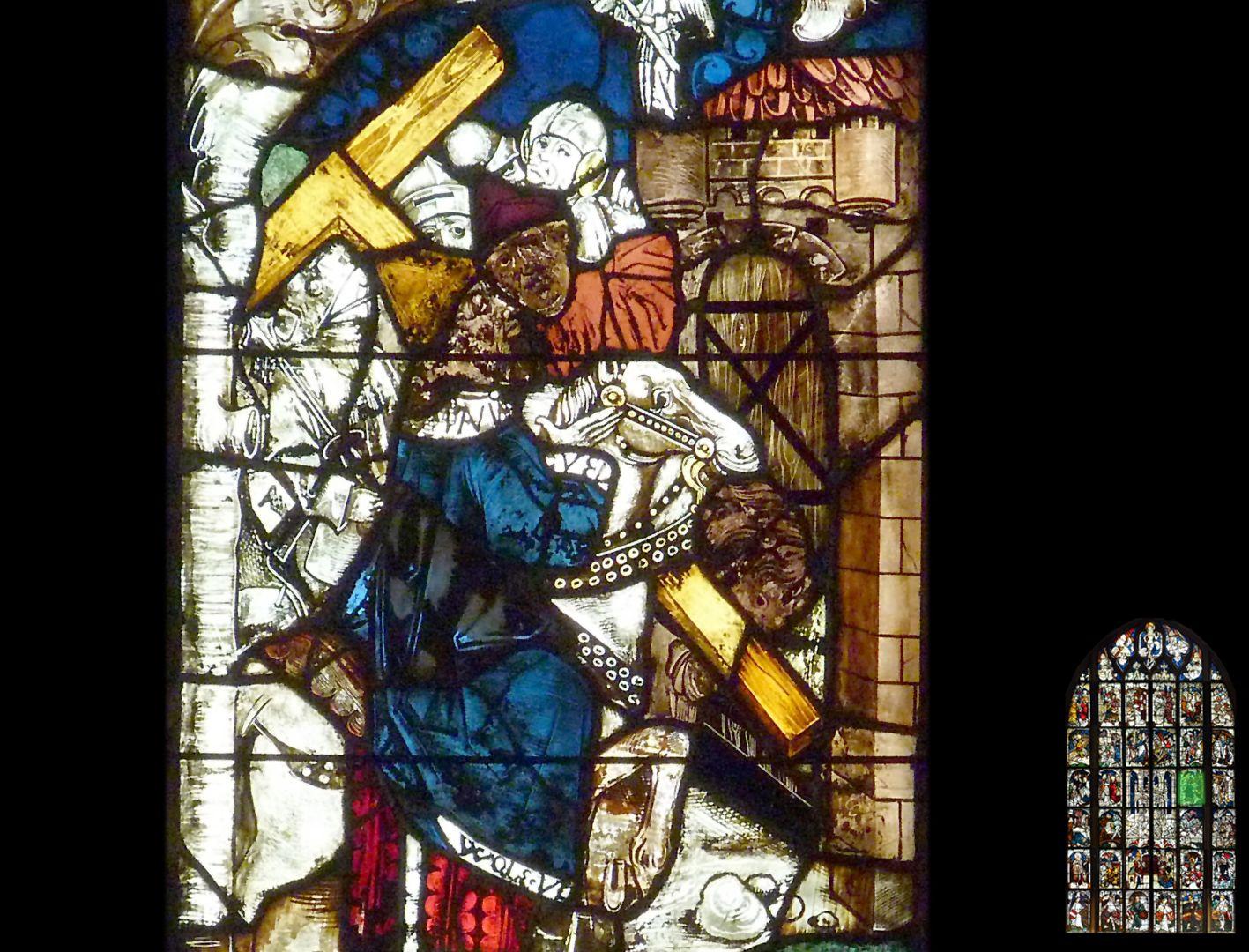 Kaiserfenster Kaiser Heraklius mit dem Kreuz, Detail, Signatur WOLE•UT am Saum des Mantels