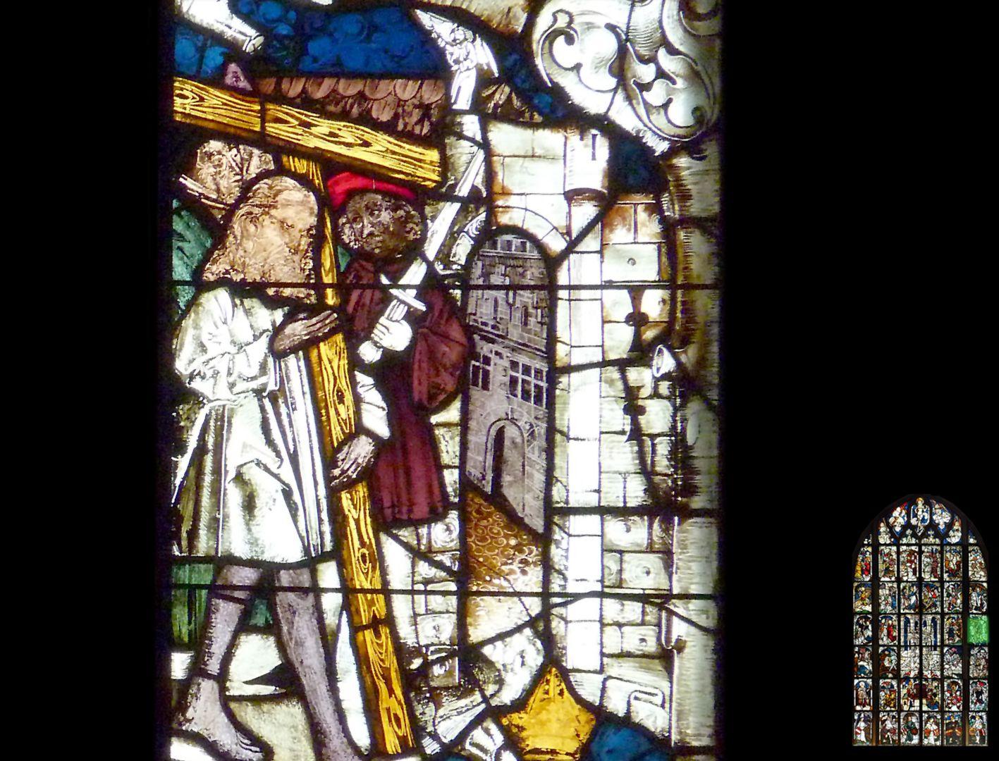 Kaiserfenster Kaiser Heraklius trägt das Kreuz, barfüßig und im Büßerhemd