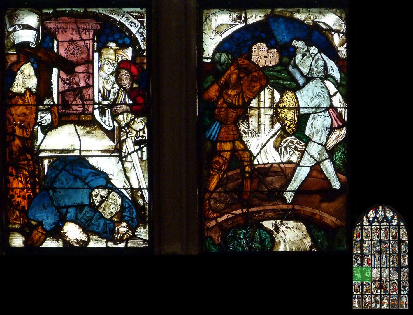 Kaiserfenster Szenen zur Rückeroberung des wahren Kreuzes durch den byzantinischen Kaiser Heraklius. Rechts der Zweikampf mit dem Perserkönig Chosroe und links die anschließende Enthauptung des Frevlers.