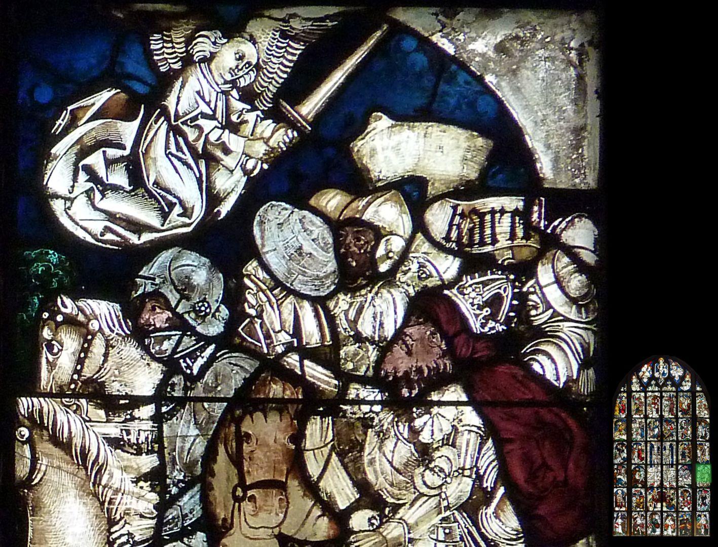 Kaiserfenster Schlacht Kaiser Karls d. Gr. gegen die Hunnen bei Regensburg, Detail