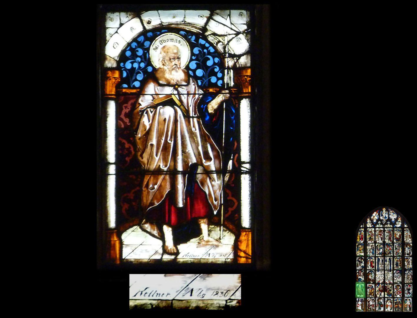 Kaiserfenster Apostel Thomas, eine Neuschöpfung aus dem Jahr 1836