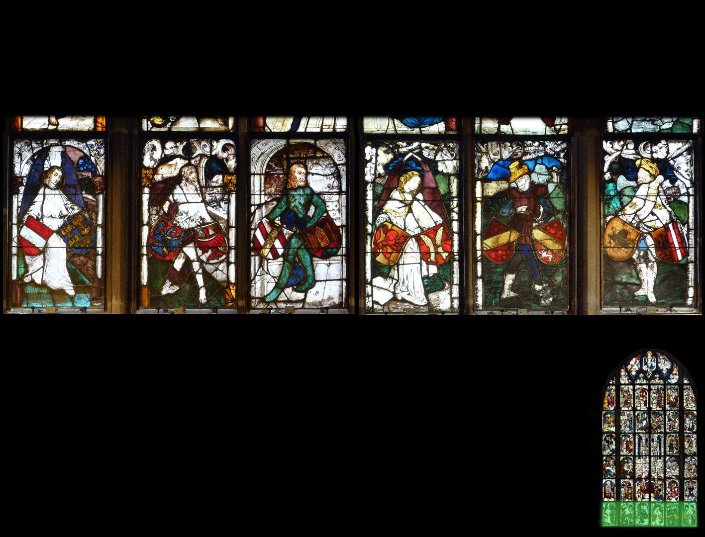 Kaiserfenster 1. Zeile mit den Wappen der österreichischen Erblande