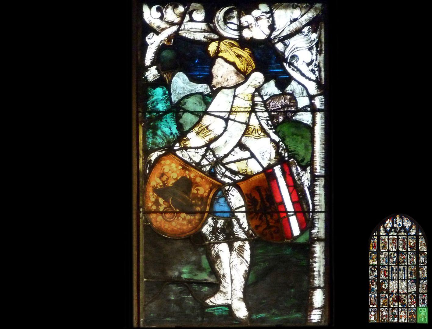 Kaiserfenster Schildknappe mit zwei Wappenschilden
