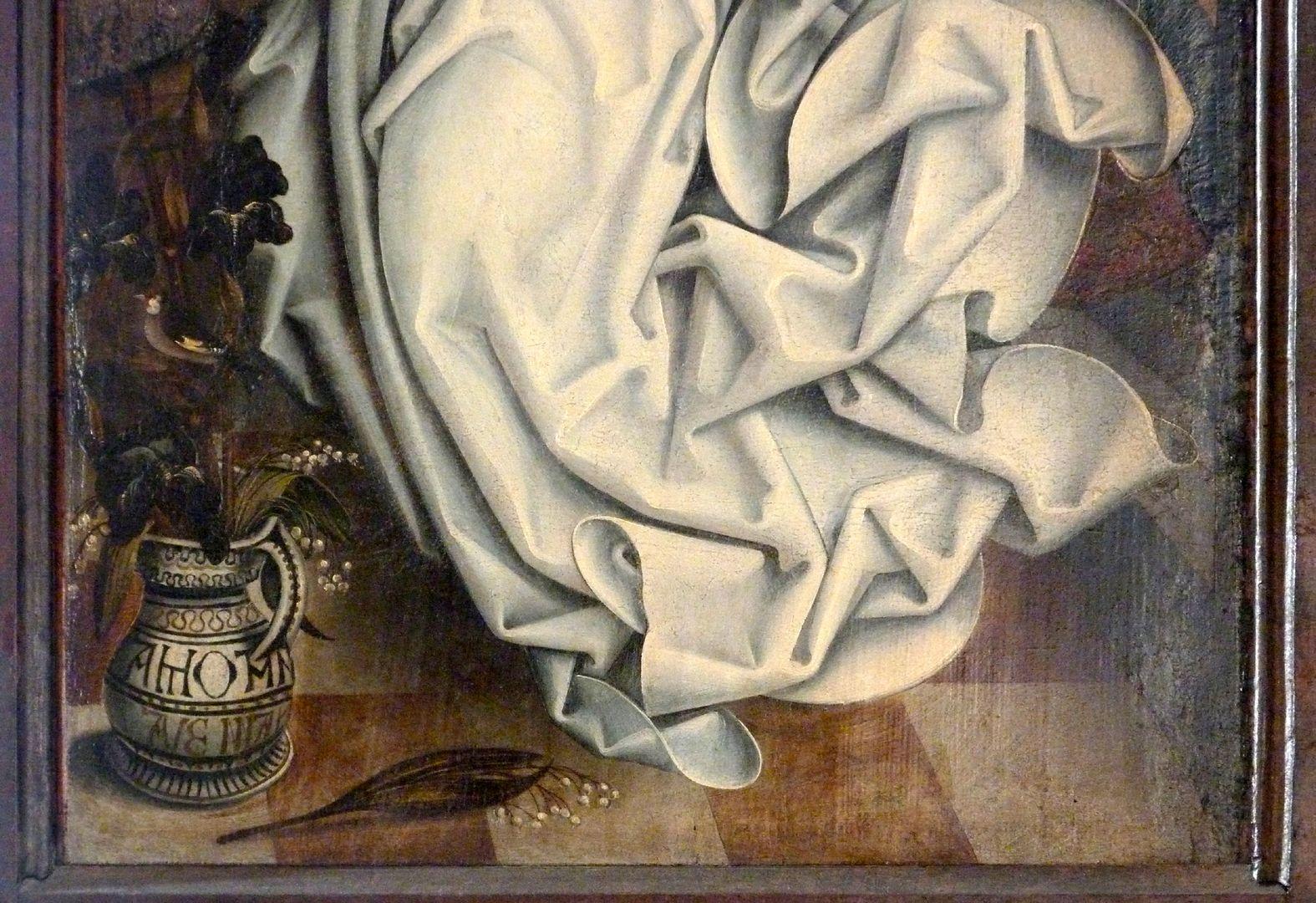 Ständetafel und Verkündigungsengel Außenseite, unteres Drittel, Lilienkrug und Gewandfalten des Verkündigungsengels