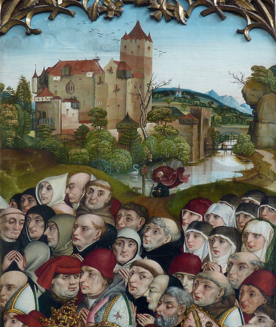 Ständetafel und Verkündigungsengel Innenseite, Landschafthintergrund von Dürer ?