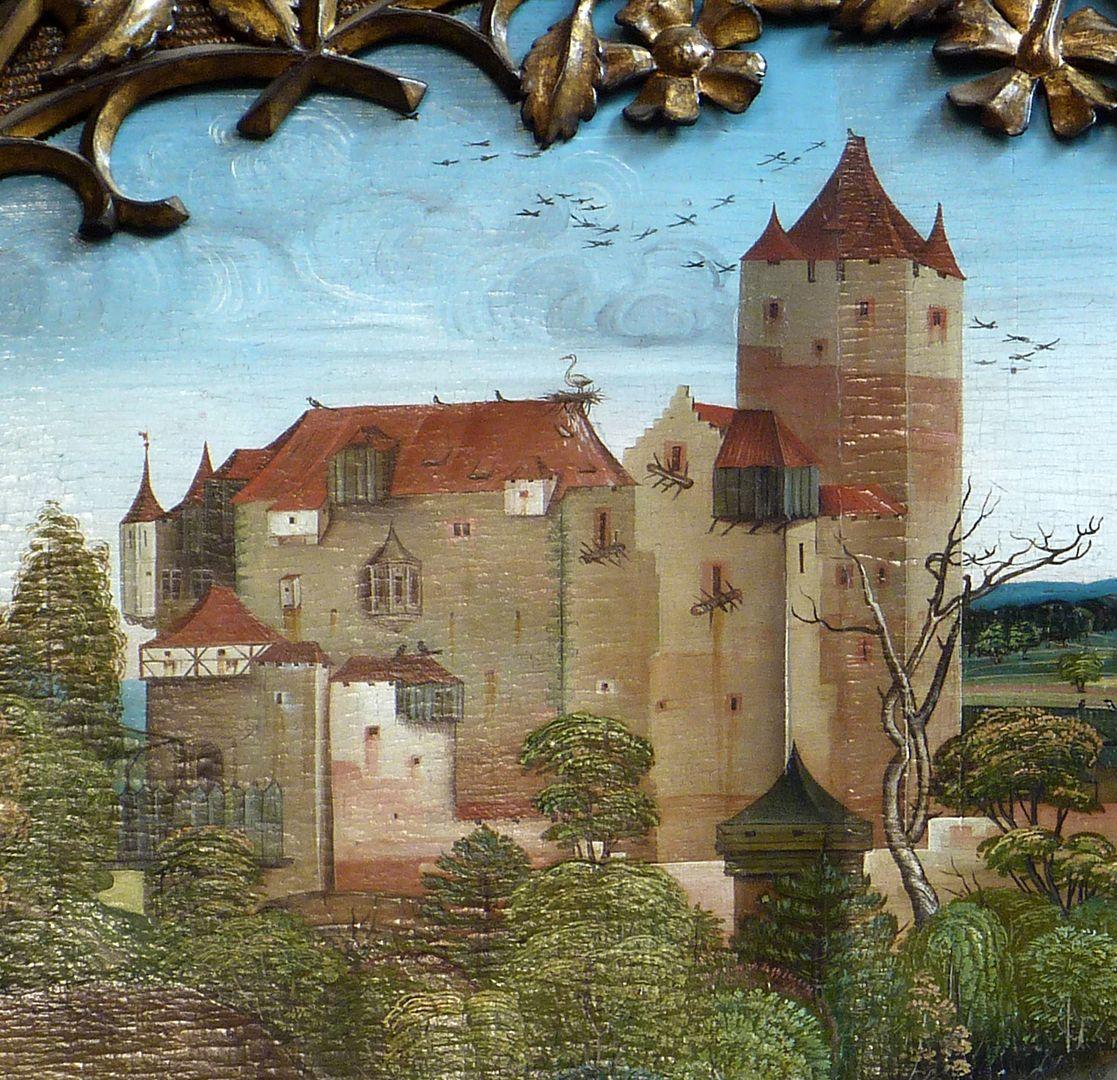 Ständetafel und Verkündigungsengel Innenseite, oberes Bildfeld, Burgansicht