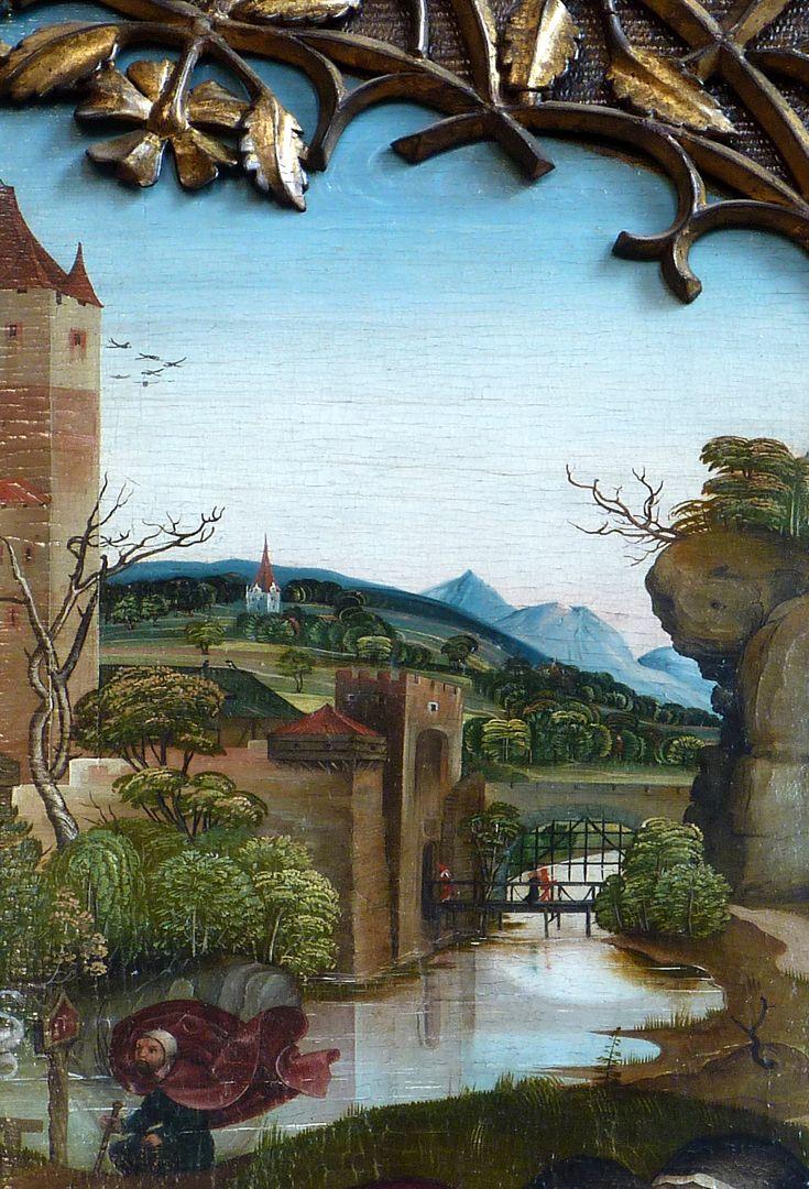Ständetafel und Verkündigungsengel Innenseite, Hintergrund mit Burg, Fluss und Landschaft